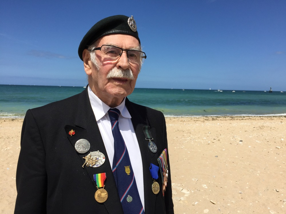 George Meredith on Juno Beach where he landed in 1944.