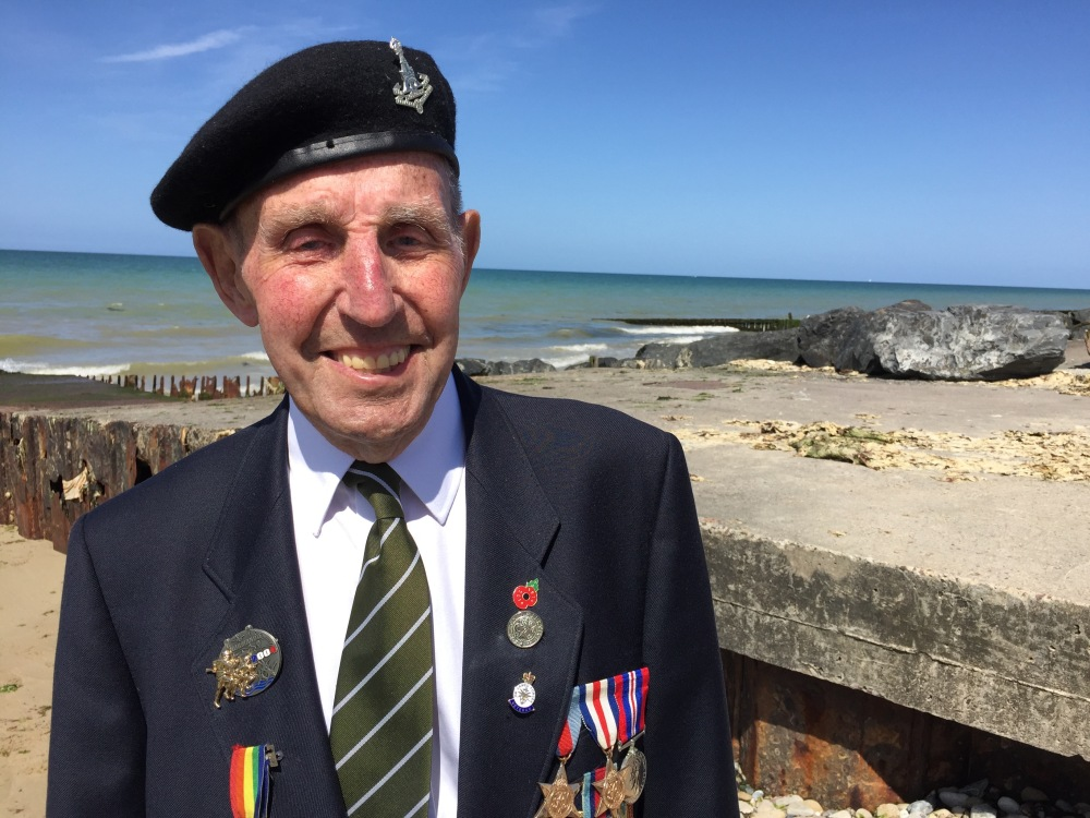 Ken Cooke, on Gold Beach where he landed in 1944.