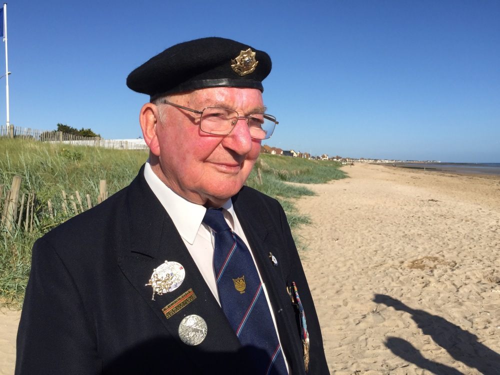 Bert Barritt on Sword Beach where he landed in 1944.