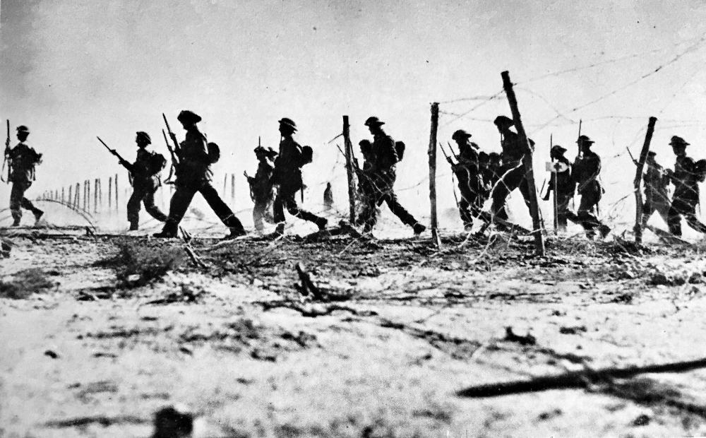 Australian Infantry advance at Tobruk: from 'Britain at War' (1942)